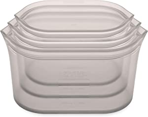Zip Top Reusable 100% Silicone Food Storage Bags and Containers, Made in the USA - 3 Dish Set - Gray