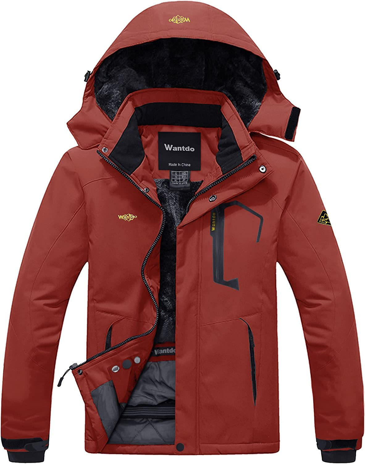 Wantdo Men's Mountain Waterproof Ski Jacket Windproof Rain Jacket Winter Warm Snow Coat