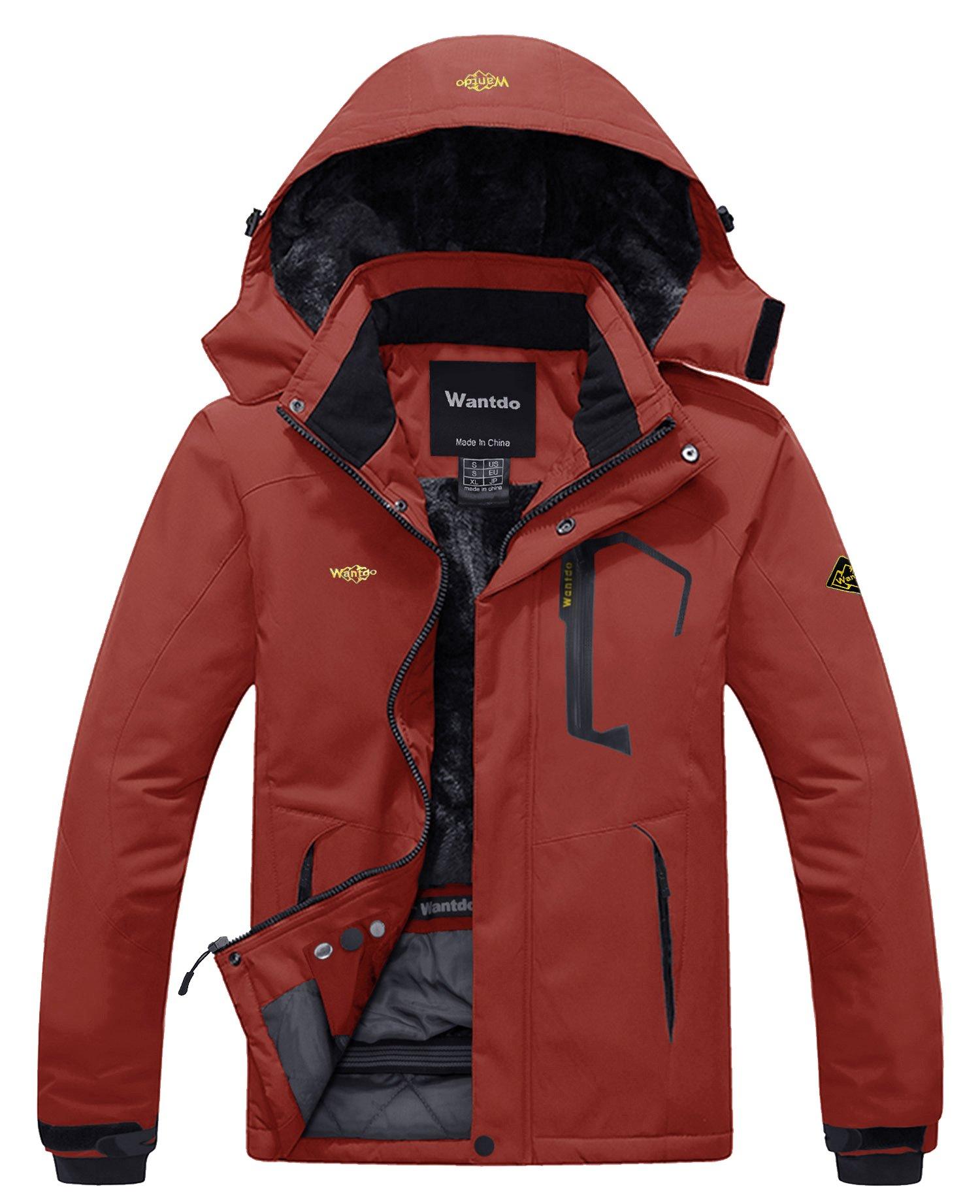 Wantdo Men's Waterproof Fleece Ski Jacket Windproof Rain Jacket Outdoor Jacket Brick Red S