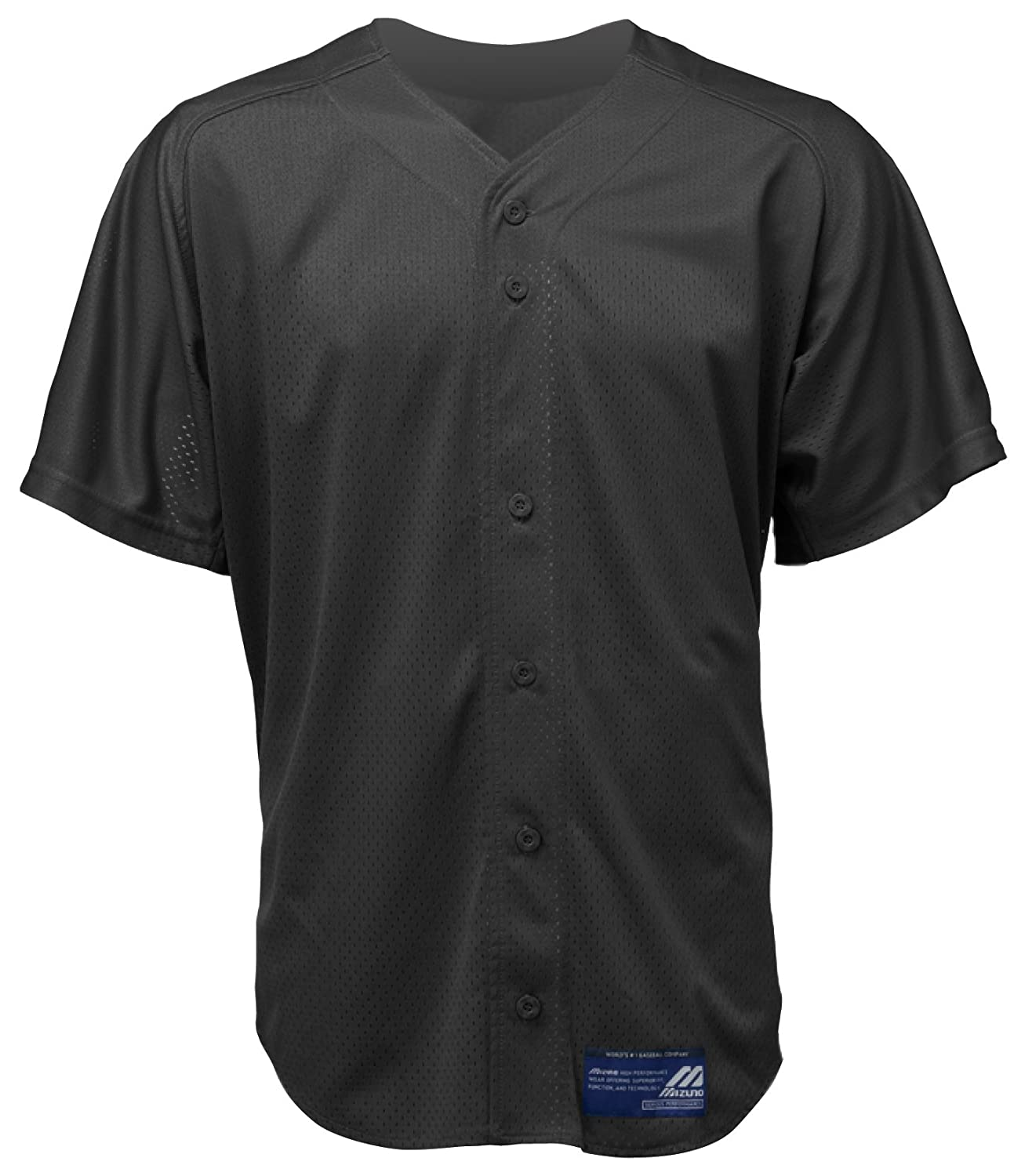 Mizuno Boy's Full Button Mesh Short Sleeve Baseball Jersey, Black, X-Large 350122.9090.07.XL
