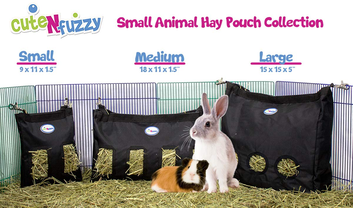 CuteNfuzzy Small Animal 1000D Nylon Hay Pouch Bag Feeder for Guinea Pigs and Rabbits - Available in Multiple Colors and Sizes, Rainbow Geometric, Large by cuteNfuzzy