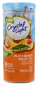 Crystal Light Green Tea Peach Mango Drink Mix (Makes 10-Quarts), 1.85-Ounce Canister (Pack of 4)