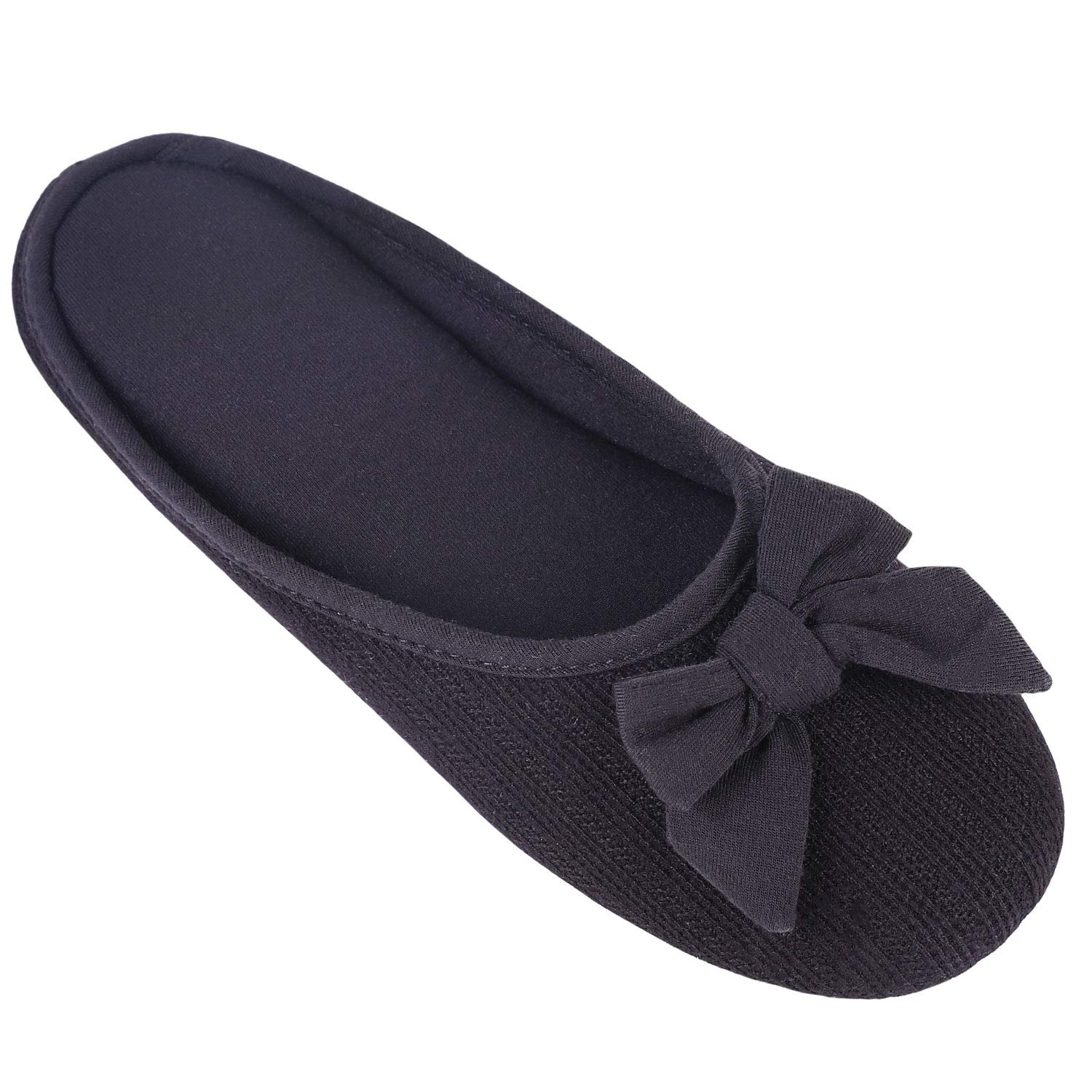 Women's Cozy Cashmere Cotton Closed Toe House Slippers with Cute Bow Accent