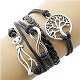 Bracelet noir avec un chat arbre de vie et lien infini