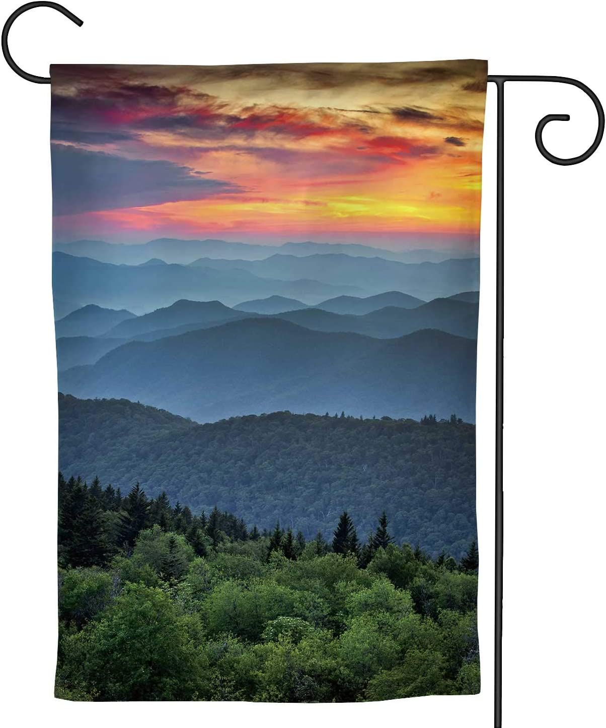 Hitecera Blue Ridge Parkway Scenic Landscape Appalachian Mountains Ridges Sunset Layers Over Great Smoky National Park,Welcome Garden Flag Garden Yard Banner Lawn Outdoor Decoration 28''x40''
