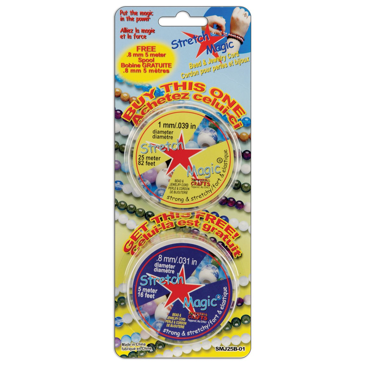 Pepperell Stretch Magic Jewelry Cord, 1mm 25m and 0.8mm 5m, 2 Per Package Notions - In Network SMJ25BO1