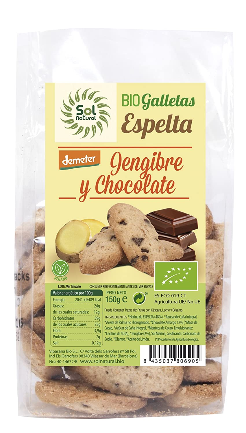 Sol Natural Mini Galletas de Espelta, con Jengibre y Chocolate ...