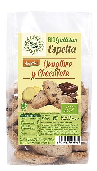 Sol Natural Mini Galletas de Espelta, con Jengibre y Chocolate - Paquete de 6 x