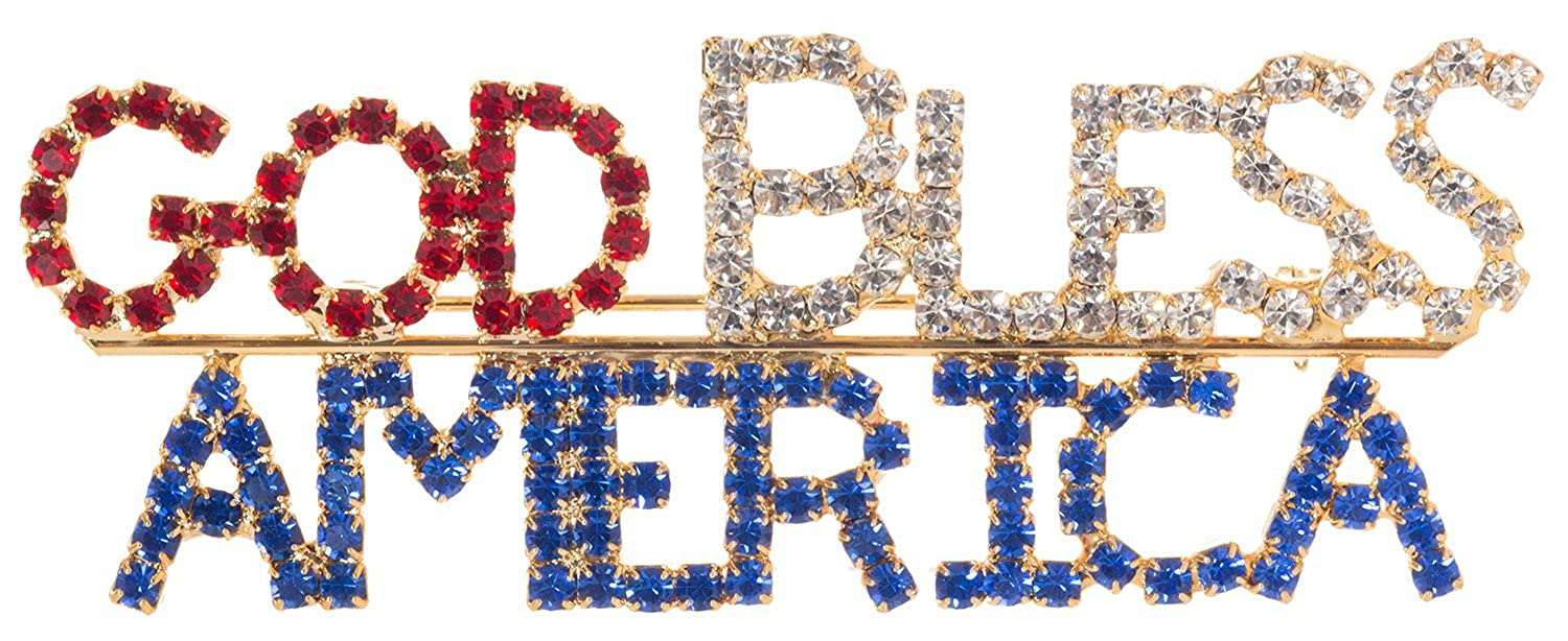 """""""God Bless America"""" Patriotic Brooch Pin 3"""" with Exquisite Detail and Crystal Accents"""