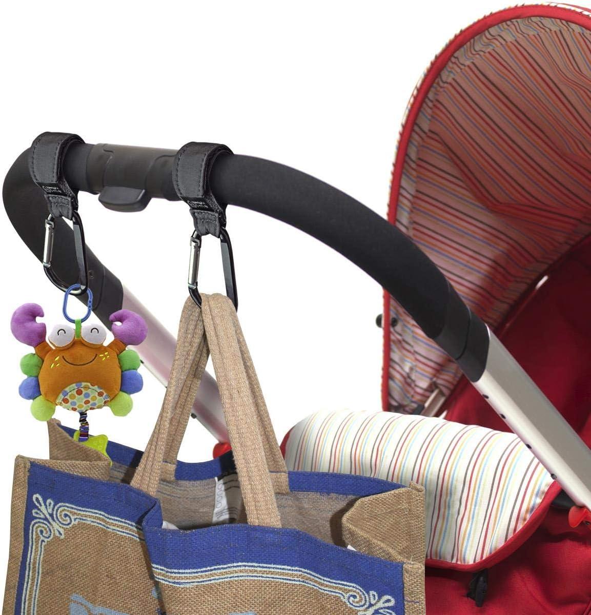 Black 2pcs iGadgitz Home U7098 Buggy Strap Carabiner Buggy Clips Pram Hooks Stroller Clips