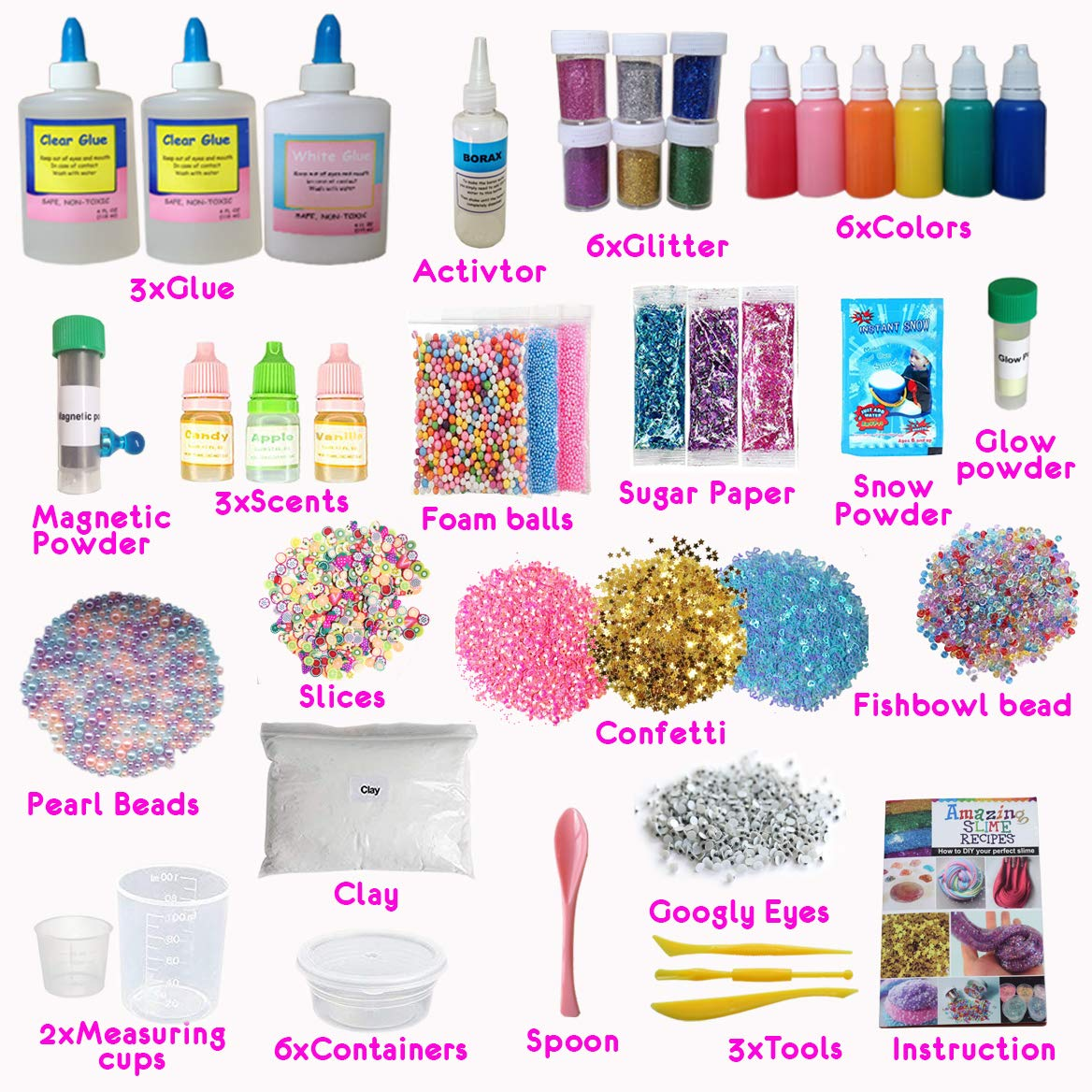 ecoZen Lifestyle Ultimate Slime Kit for Girls - Best Value Unicorn DIY Slime Supplies Kits for Making Tons of Various Fail-Proof Slimes - Perfect Birthday Toys Gifts for 7 8 9 10 11 12 Year Old Girls by ecoZen Lifestyle (Image #2)