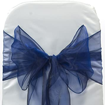 Pour Nœuds Marine Mariage Bleu Chaise 50 Rubans Et Housse De zMqSUVpG