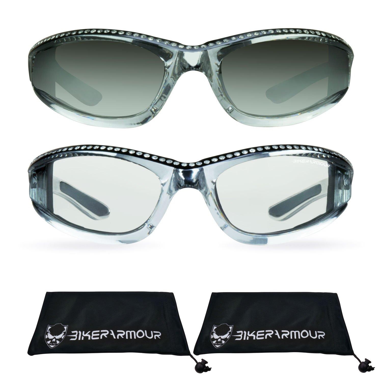 Chrome Frame Anti Glare Mirrored Motorcycle Sunglasses with Rhinestones Foam Padded for Women (Mirror Smoke Black + Clear Black Combo)