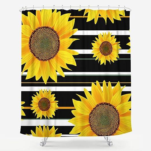 Bright sunflower and sun Bathroom Shower Curtain 12 Hooks Waterproof Fabric