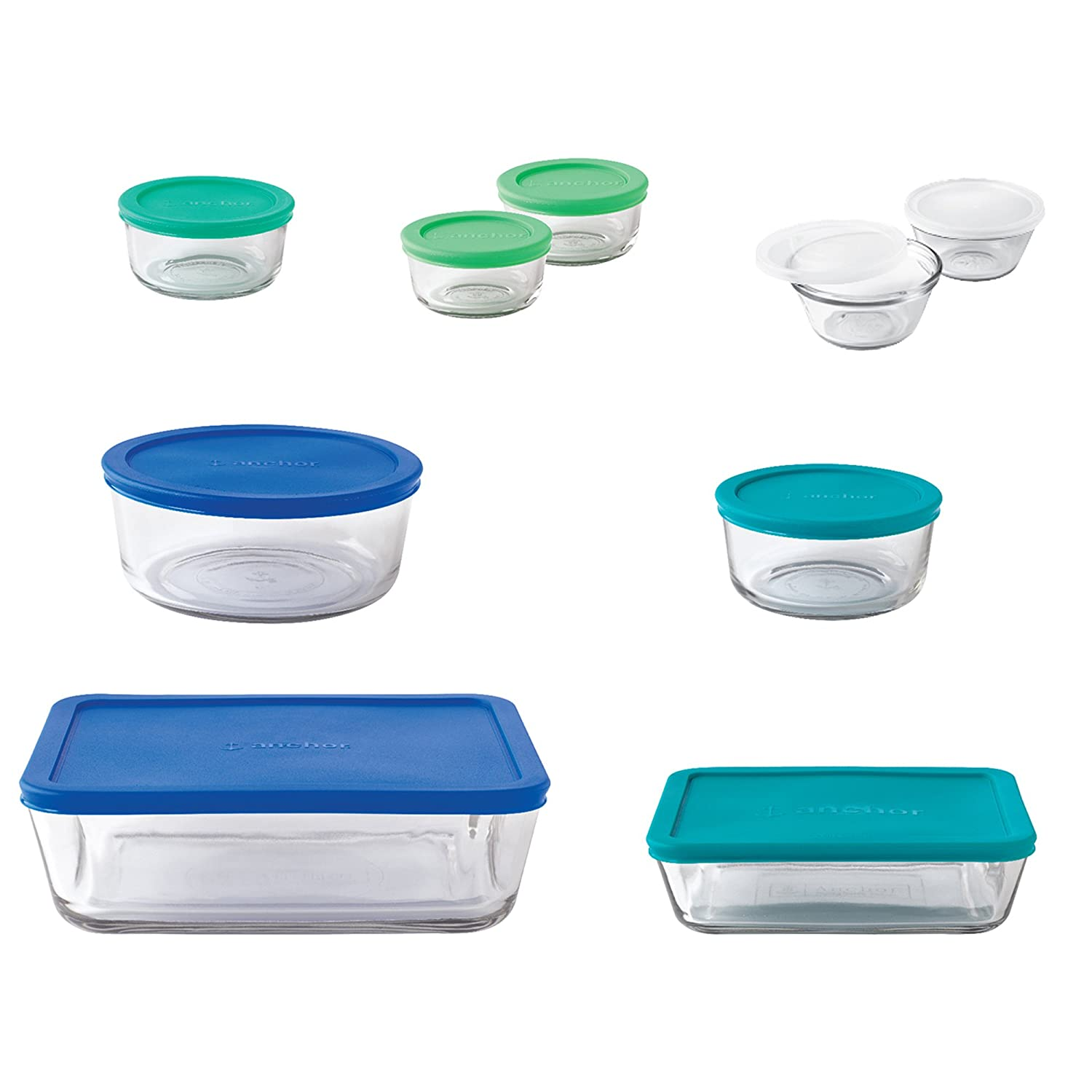 Anchor Hocking Classic Glass Food Storage Containers with Lids, Mixed Blue, 20-Piece Set