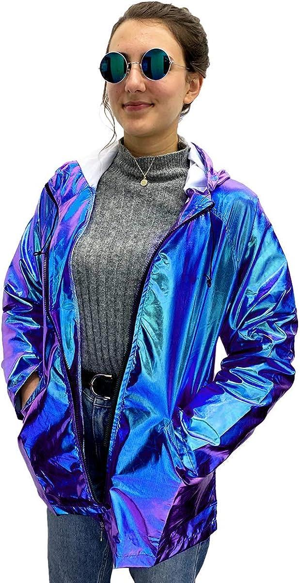 Paper Umbrella Damen Metallic Look holographische Regenjacke