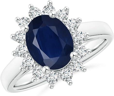 Amazon Com Princess Diana Inspired 2 00 Carats Blue Sapphire Ring With Diamond Halo 9x7mm Blue Sapphire Jewelry