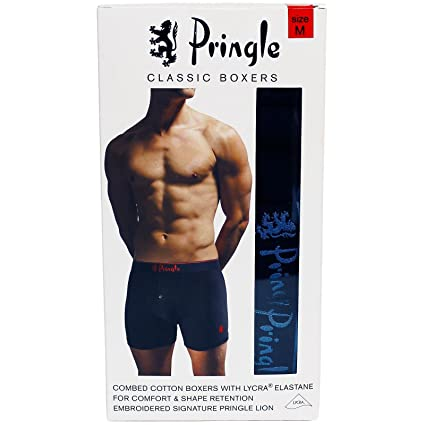 b5002c9324dc Pringle Classic Boxer Shorts with Lycra 4 Pack (MEDIUM 33 -35 inches)-  Black: Amazon.co.uk: Kitchen & Home