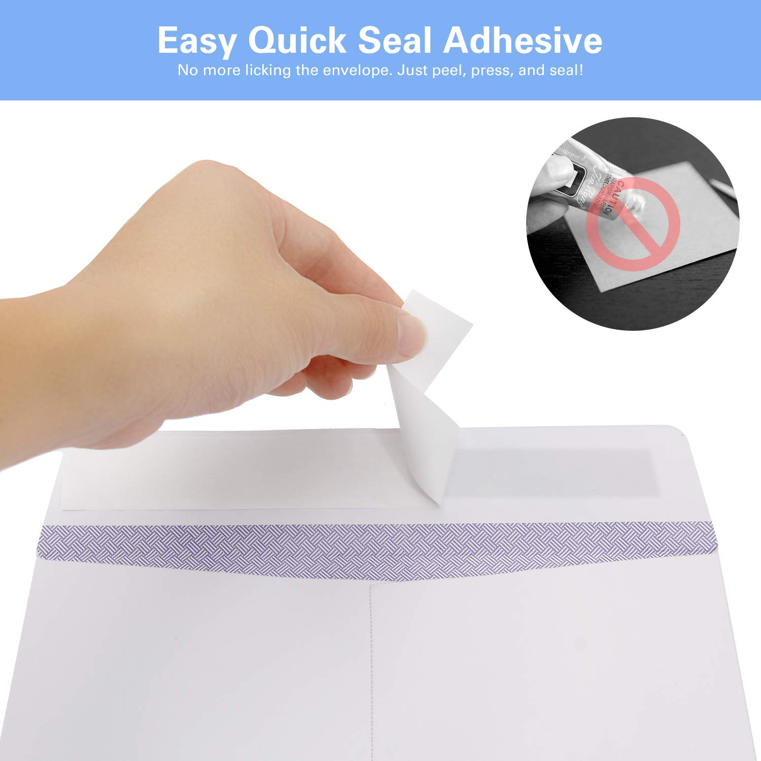 100 9 x 12 Self Seal Security White Catalog Envelopes Ohuhu, for Business Documents, Secure Mailing, Photos, Ultra Strong Quick-Seal, 100 Envelope with Letter Opener, 28 lb by Ohuhu (Image #3)
