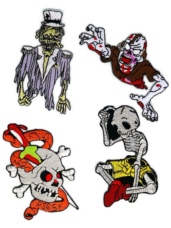 Juego de 4 calaveras de Halloween de Fantasy Zombie Ghost D.I.Y. Parche bordado para coser o planchar con dibujos animados, hecho a mano, para bebé, niña, ...