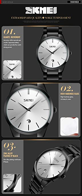 Amazon.com: SKMEI 9140 Stainless Steel Pointer And Calendar Display 30M Waterproof Quartz Watches For Mens (Gold): Beauty