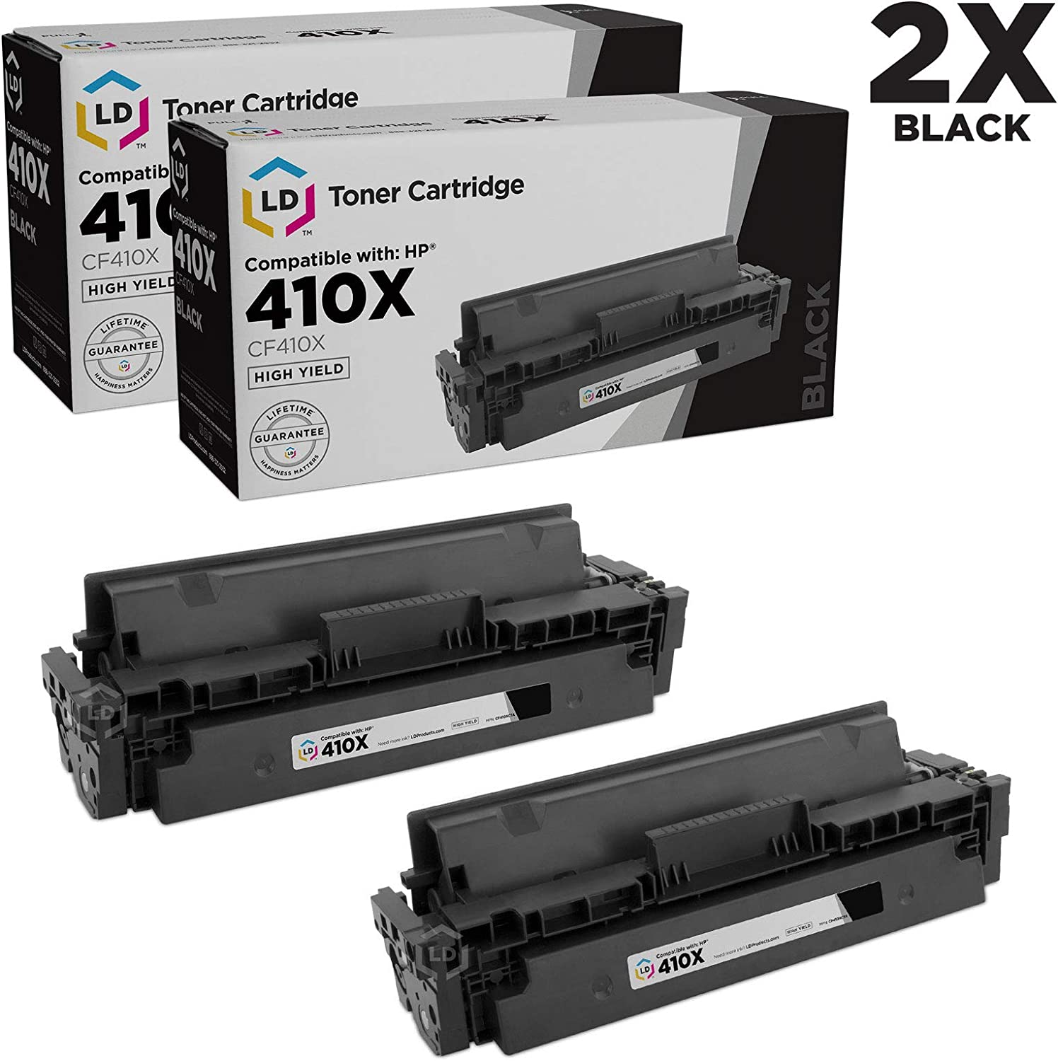 LD Compatible Toner Cartridge Replacement for HP 410X CF410X High Yield Black, 2-Pack