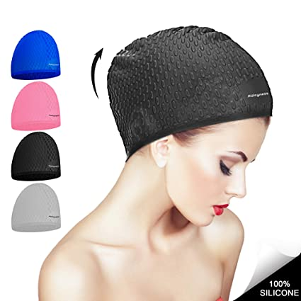 fd66c389c2974 Msicyness Swim Cap for Long/Curly Hair Silicone Swimming Hat for Adult  Swimming Pool Laps