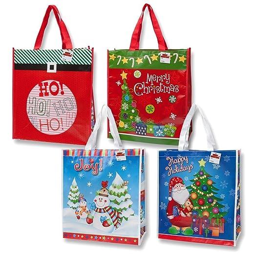 amazoncom 12 jumbo christmas reusable gift bag grocery shopping totes for the holidays toys games