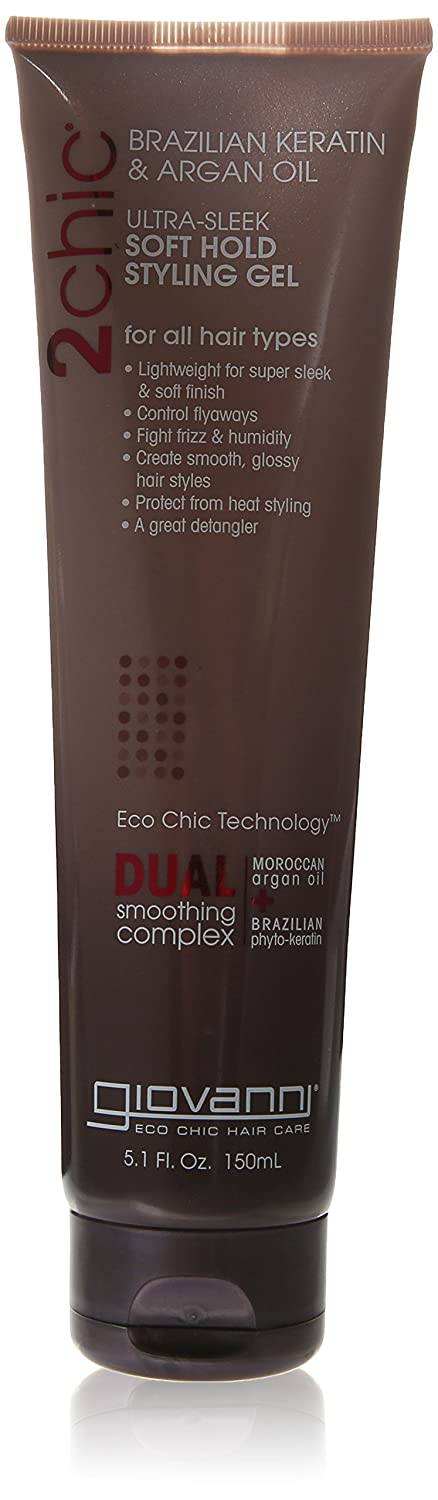 Giovanni 2chic Brazilian Keratin and Argan Oil Ultra-Sleek Soft Hold Styling Gel 5.1 Fluid Ounces 18443