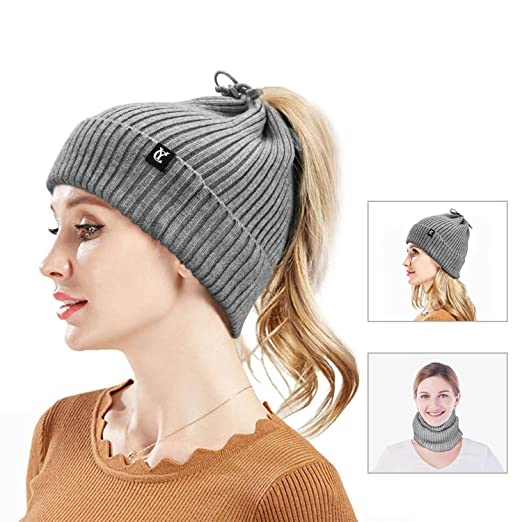 82446a297 Cevapro Slouchy Beanie, 3 in 1 Ponytail Beanie Hat Winter Warm Scarf Knit  Hat for Running Hiking Outdoor Sports
