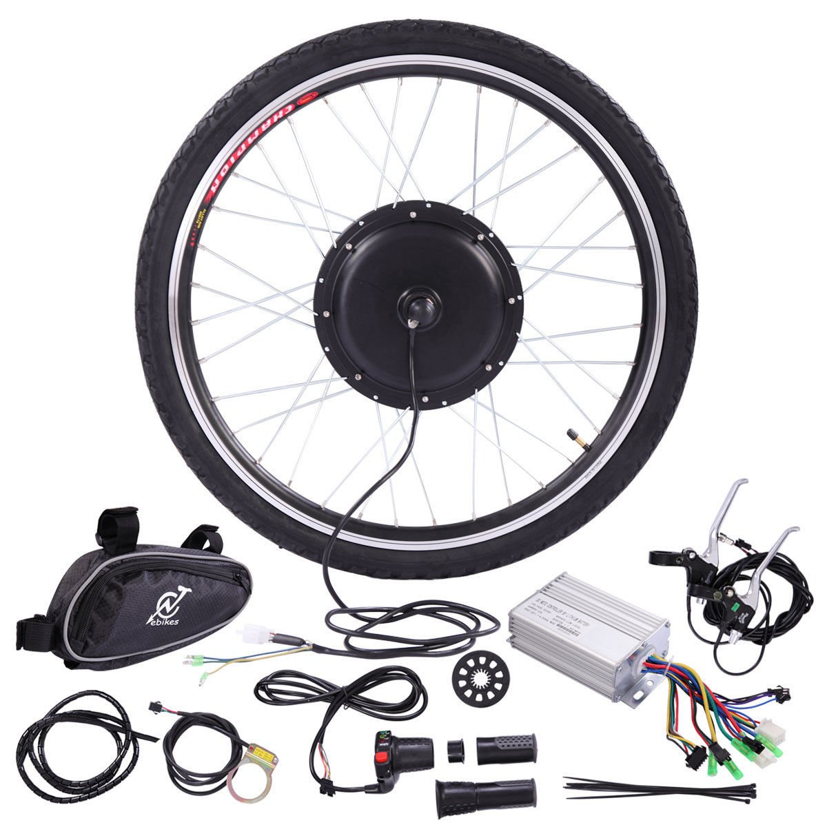 JAXPETY 36V 500W Electric Bicycle Cycle 26'' E Bike Front Wheel Ebike Hub Motor Conversion Kit Hub Motor Wheel