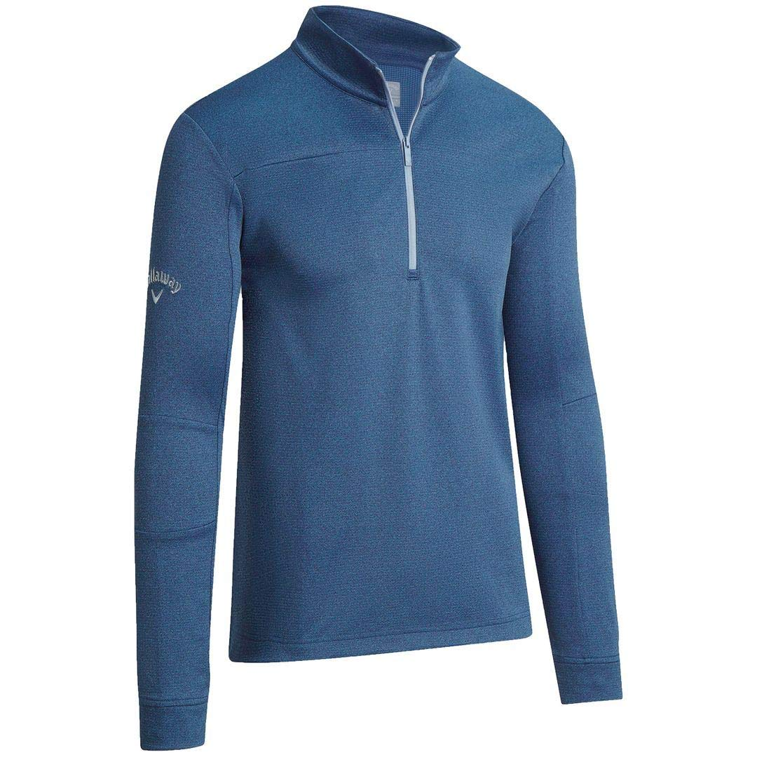 Callaway Golf 2019 Mens Pieced Waffle 1/4 Zip Thermal Pullover Sweater Peacoat Heather XL by Callaway