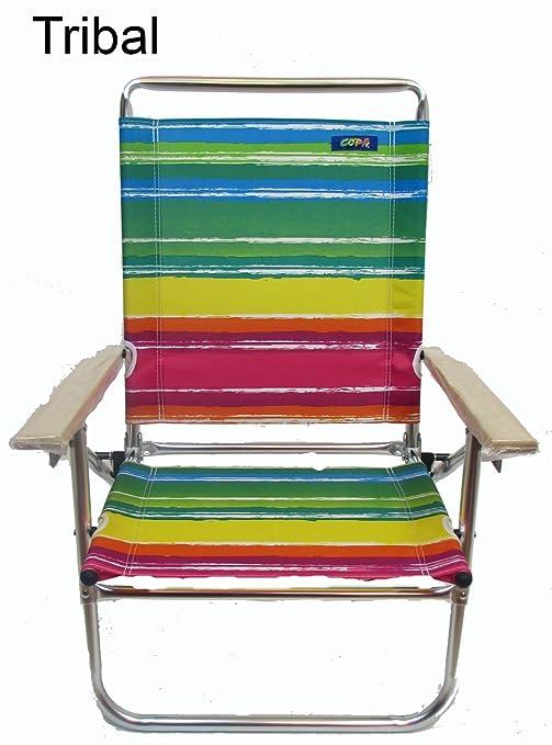 Amazon.com: Mid Altura de 3 Posición Silla de playa por copa ...