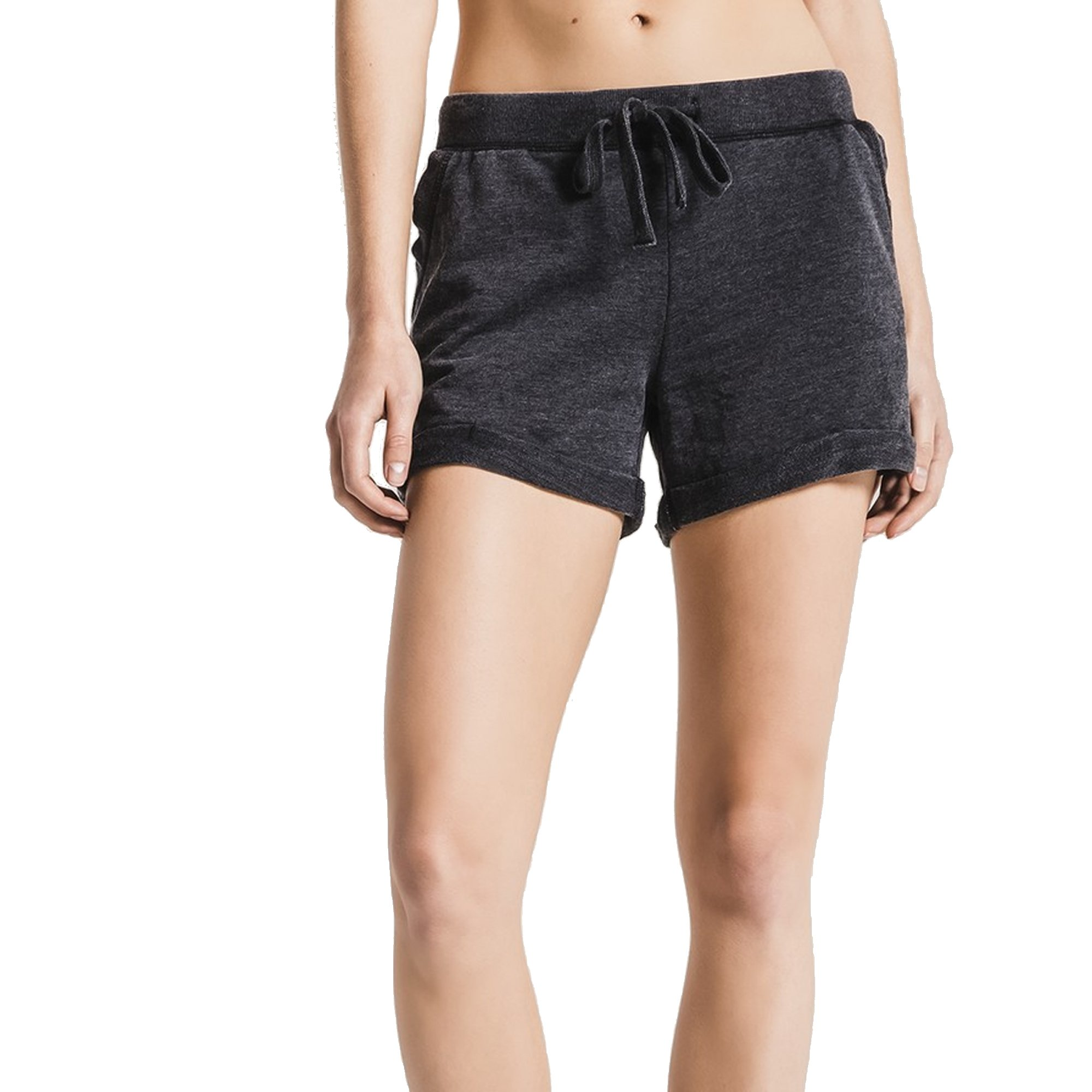 Z SUPPLY Women's The Boyfriend Short Burnout Fabric Relaxed Fit, Black, Small