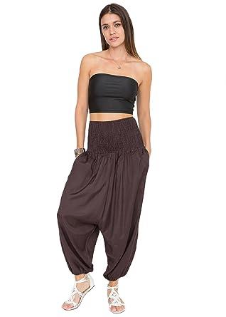 d93c237e2819 Silk Look Convertible Harem Trouser and Capri Jumpsuit Aubergine   Amazon.co.uk  Clothing