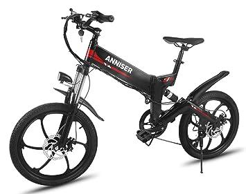 ANNISER - Bicicletas eléctricas de 50,8 cm. Bicicleta de montaña eléctrica plegable,