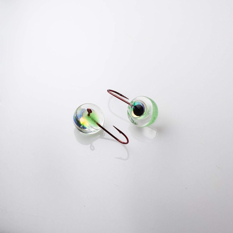 Tiger Eye Glass Jigs Size 6 Optic Eye with Reflective Eye Hook Size