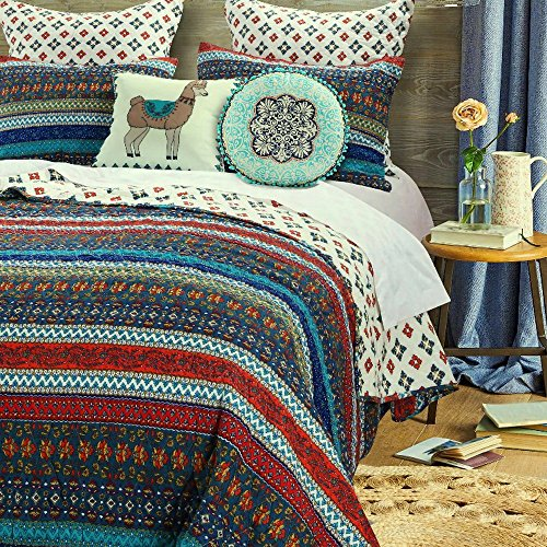 Boho Chic Quilt Set with Shams Brushed Microfiber Geometric Chevron Stripe Floral Design Bohemian Bedding Luxury Reversible Quilted Bedspread Dark Blue Red Single Twin Size- Includes Bed Sheet Straps (Single Quilted Cotton Fabric Face)