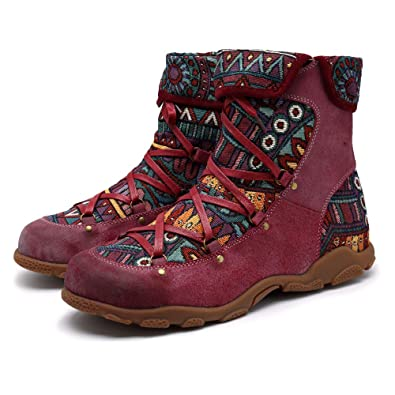 Amazon Com Crazycatz Womens Bohemian Aztec Pattern Flat Leather