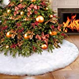 DegGod Christmas Tree Plush Skirts, White Pure Faux Fur Xmas Tree Skirt Mat Christmas Home Party Decorations Ornaments (35.4inches/90cm)