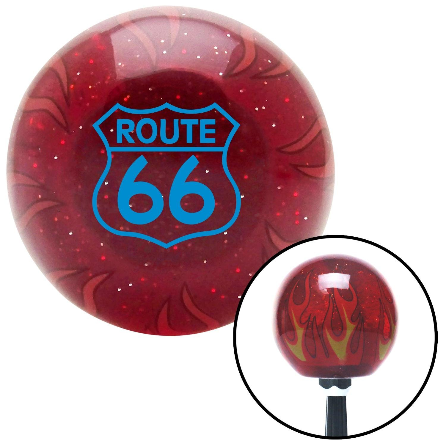 American Shifter 240251 Red Flame Metal Flake Shift Knob with M16 x 1.5 Insert Blue Route 66 Sign