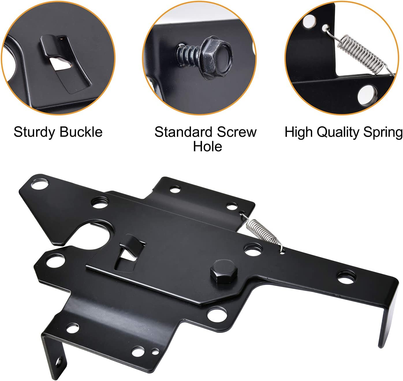 Black Finish Steel Gate Latch to Secure Pool and Yard VIGRUE/Self-Locking Gate Latch Heavy Duty Automatic Gate Latch with Fasteners Included and Optional Mounting Plate