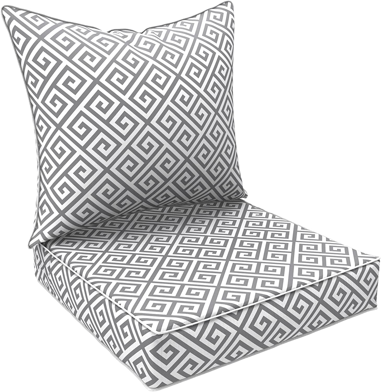 """LVTXIII Outdoor Deep Seat Cushion Patio Seat and Back Cushion Set All-Weather Replacement Chair Cushion for Dining Arm Chairs, Wicker Chairs and Garden Furniture Decoration, 25""""x25""""x5"""" , MagMaze Grey"""
