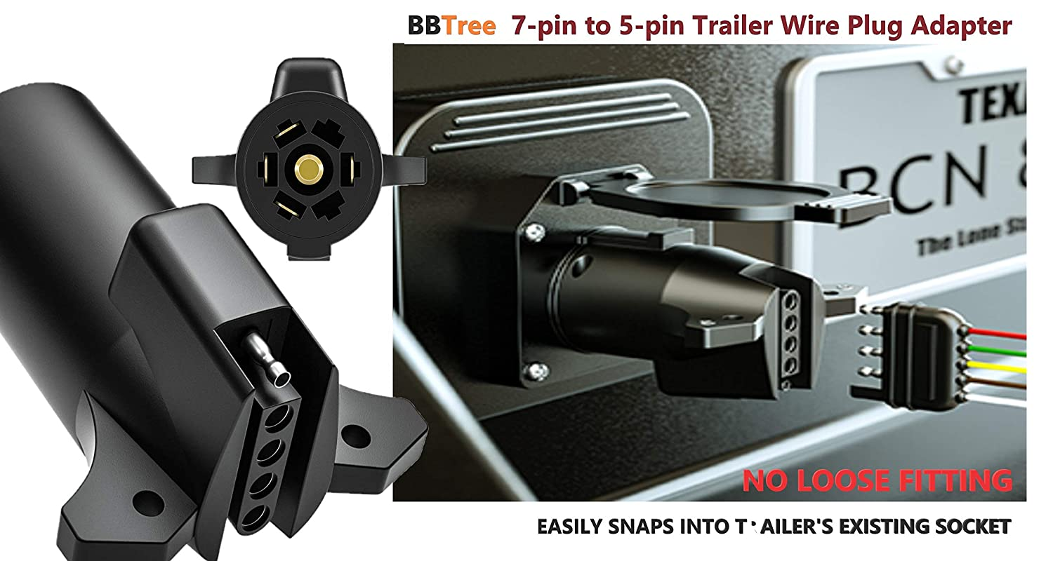 Nickel-Plated Copper Terminals Compact Design BBTree 7-Way RV Blade to 5-Way Round Trailer Wire Adapter Trailer Light Plug Connector Rugged Nylon Housing 7-pin to 5-pin Trailer Wire Plug Adapter