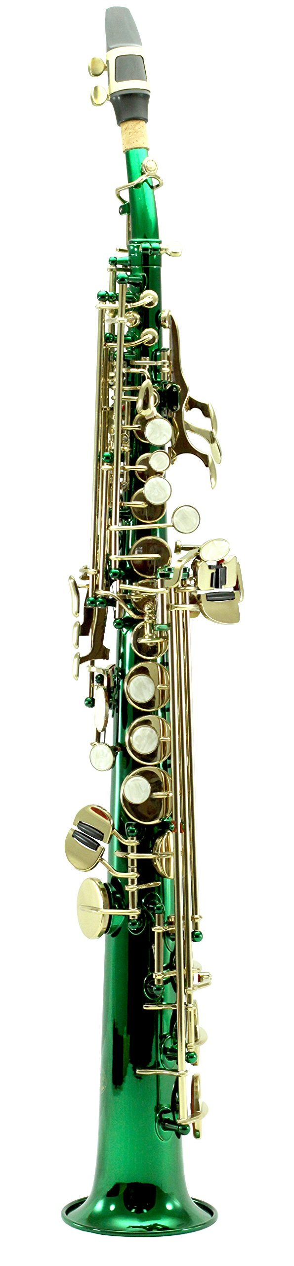 Sky Band Approved Bb Green Lacquered Soprano Saxophone with Lightweight Case, Gloves, Cleaning cloth and rod, Mouthpiece, Guarantee Top Quality Sound