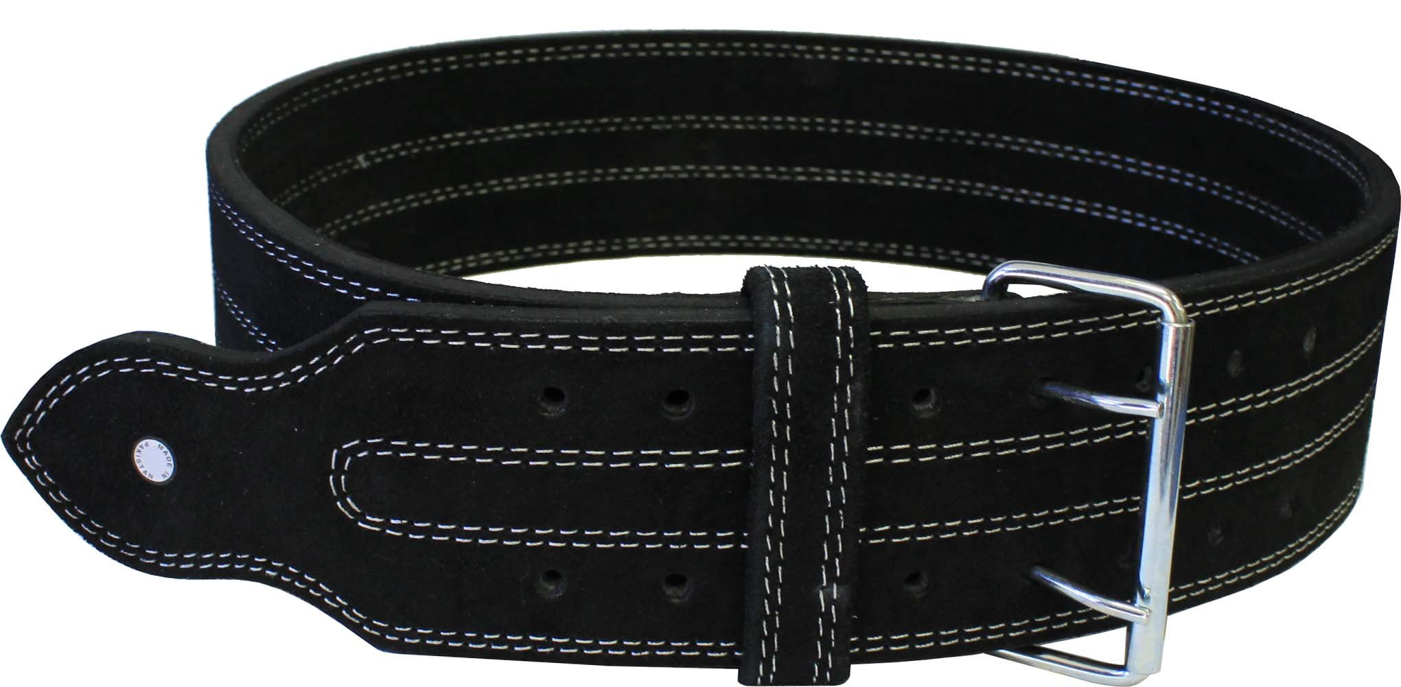 Leather Power Weight Lifting Belt- 4'' Black (Small)