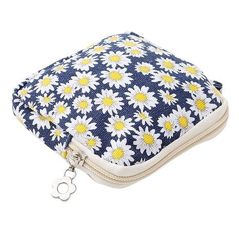 Yinew - Monedero para mujer, con cierre de cremallera, ideal para almacenar compresas, algodón y forro, Chrysanthemum, As description