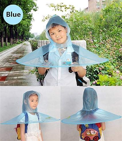 Creative Impermeable Paraguas Sombrero Gorro Gorra Exterior Niño Lluvia Abrigo Cubierta Transparente Paraguas,Blue