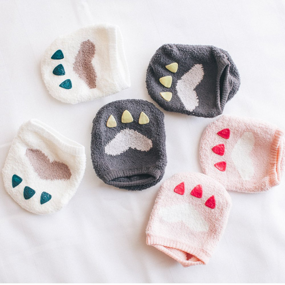 M'Baby 3 Pairs Coral Velvet Cute Paw Design Baby Toddler Silicone Anti Slip Skid Socks Baby Crew Sock For 0-2 Years