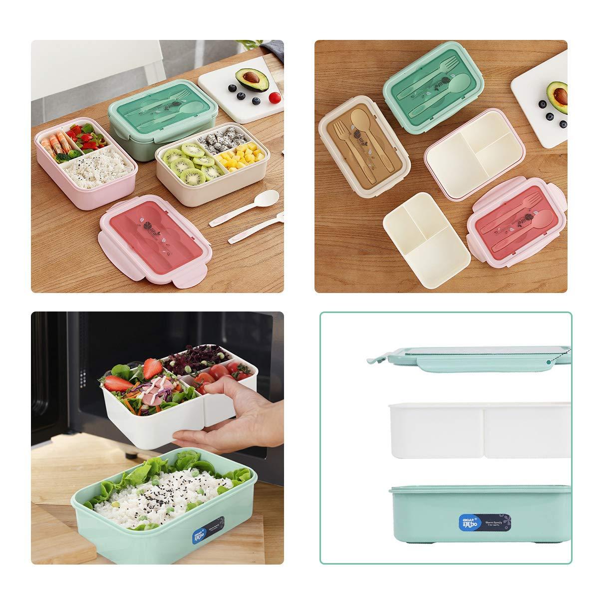 Bento Box con Forchetta e Cucchiaio per Studenti,Porta Pranzo con 3 Scomparti,Microonde//Frigo//Lavastoviglie,Approvato dalla FDA Beige//Rosa//Verde INSANY Lunch Box